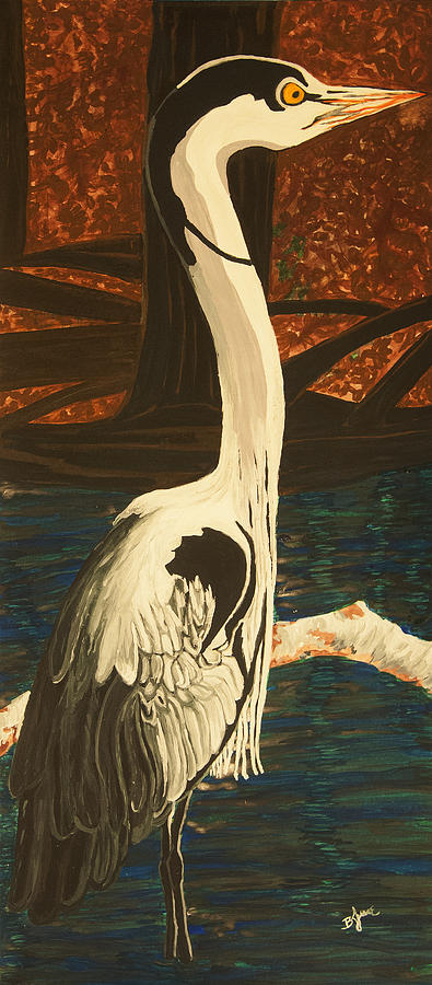 Great Blue Heron Painting - Heron In The Smokies by BJ Hilton Hitchcock
