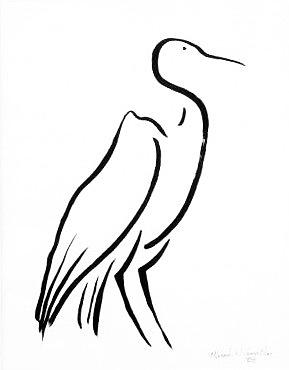 Calligraphy Drawing - Heron by Micah  Guenther