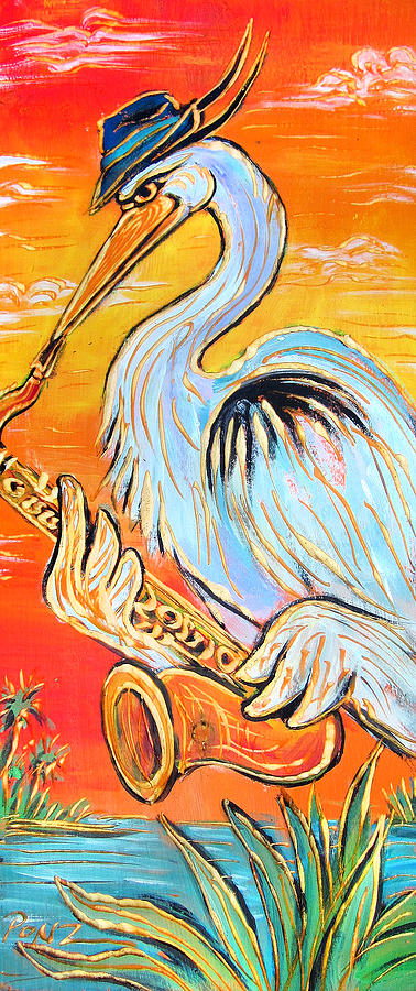 Blues Painting - Heron The Blues by Robert Ponzio