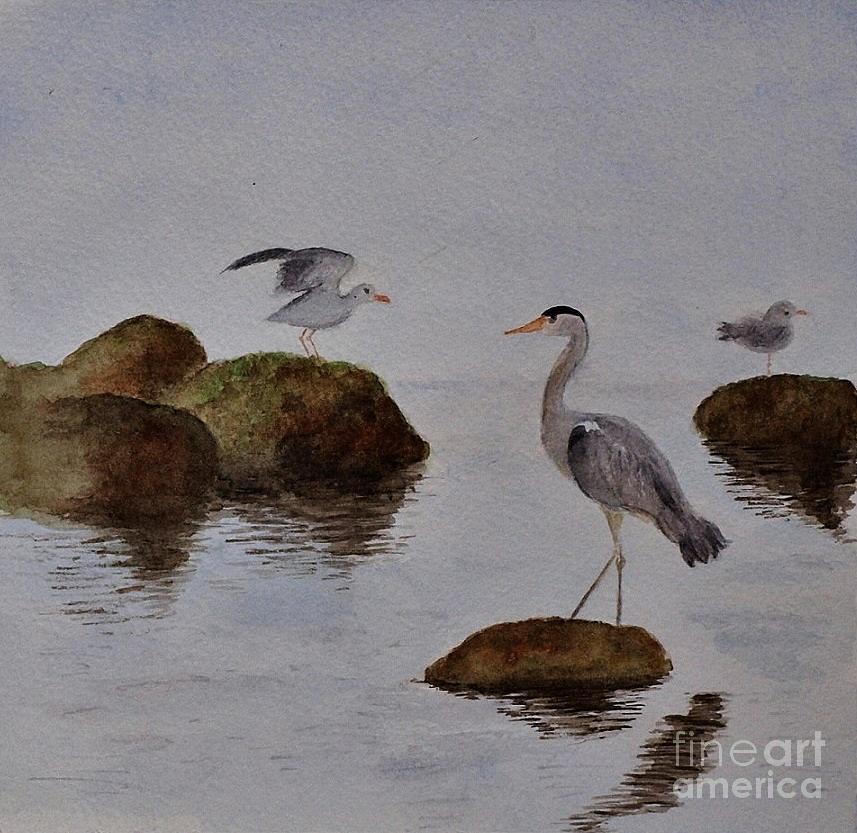 Herons Painting - Herons On Water by Marie Lewis