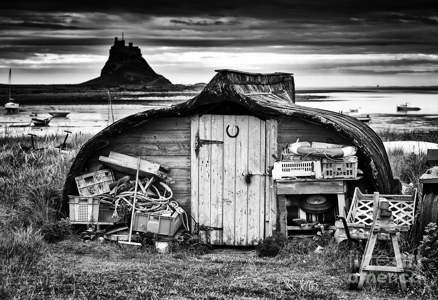 Fishing Photograph - Herring Boat Hut Lindisfarne Monochrome by Tim Gainey