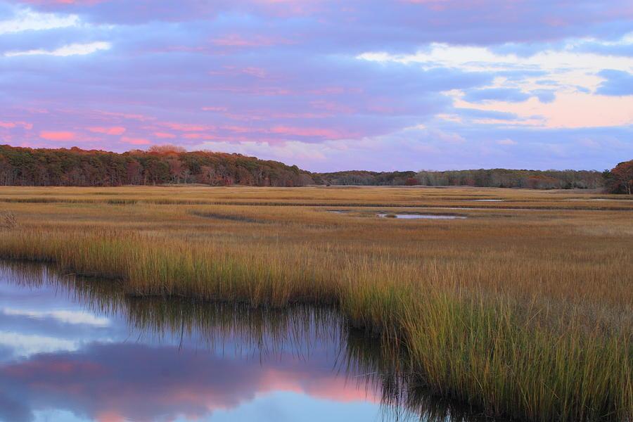 Autumn Photograph - Herring River Marsh Cape Cod Autumn Sunset by John Burk