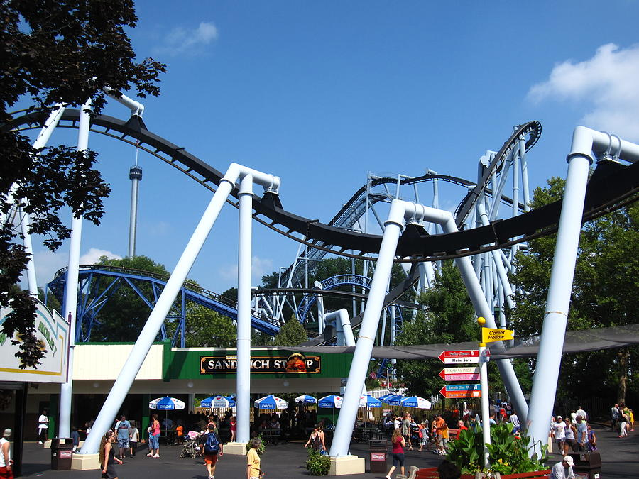 Hershey Photograph - Hershey Park - Great Bear Roller Coaster - 121210 by DC Photographer