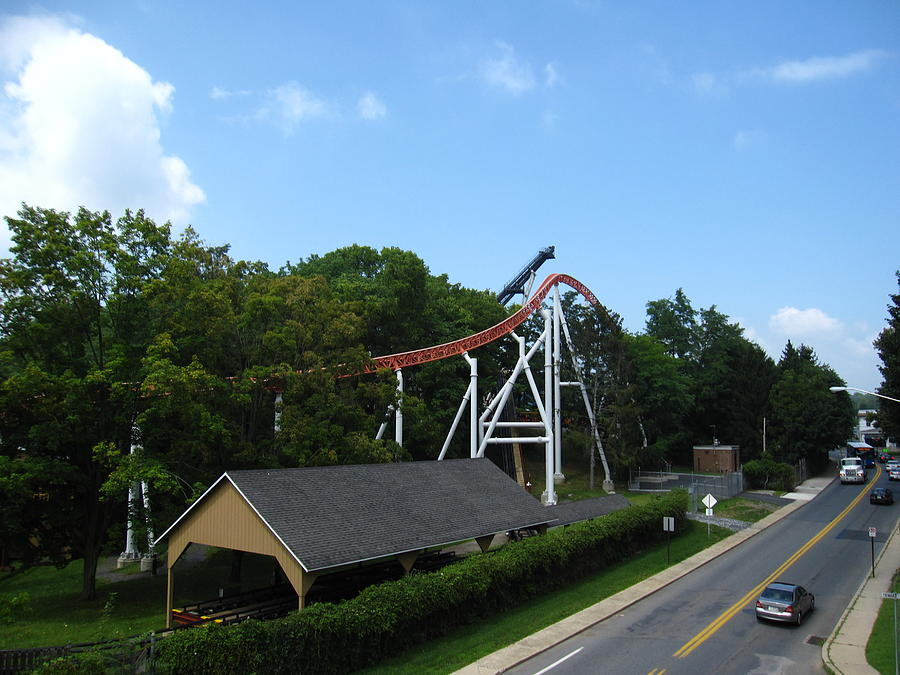 Hershey Photograph - Hershey Park - Great Bear Roller Coaster - 12124 by DC Photographer