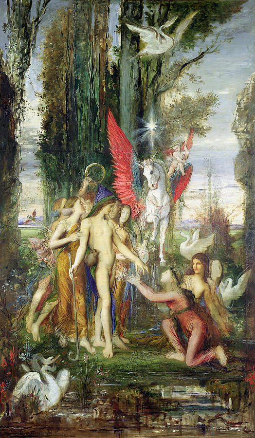 Hesiod And The Muses Painting By Gustave Moreau