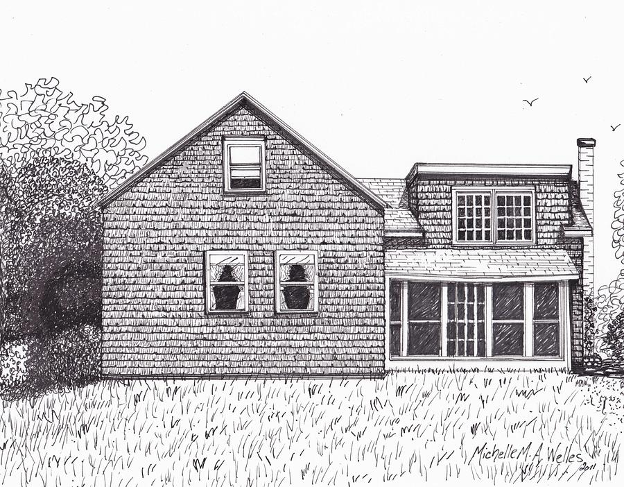 Old Farmhouse Drawing - Hettinger Family Farm by Michelle Welles