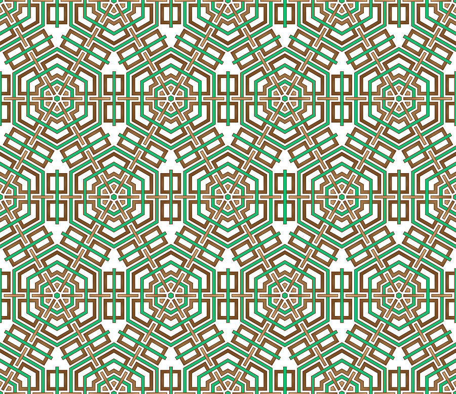 Brown Digital Art - Hexagon And Square Pattern by Jozef Jankola