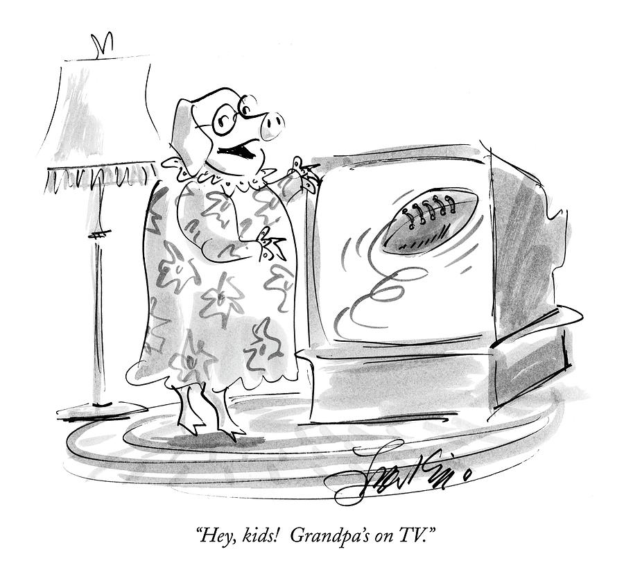 Hey, Kids!  Grandpas On Tv Drawing by Edward Frascino