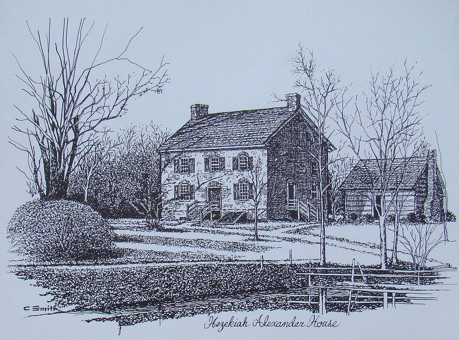Charlotte Drawing - Hezekiah Alexander House Etching by Charles Roy Smith