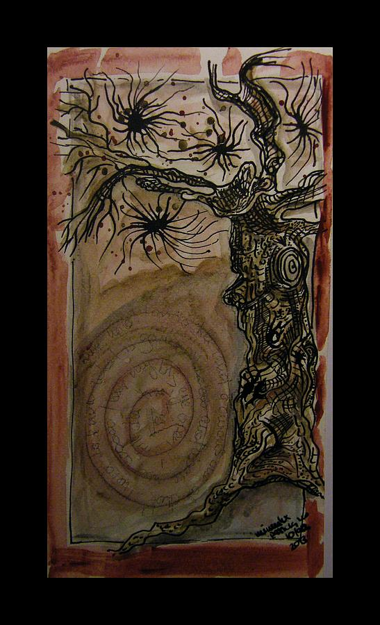 Tree Drawing - Hi - Im A Tree And What Are You ? by Mimulux patricia No