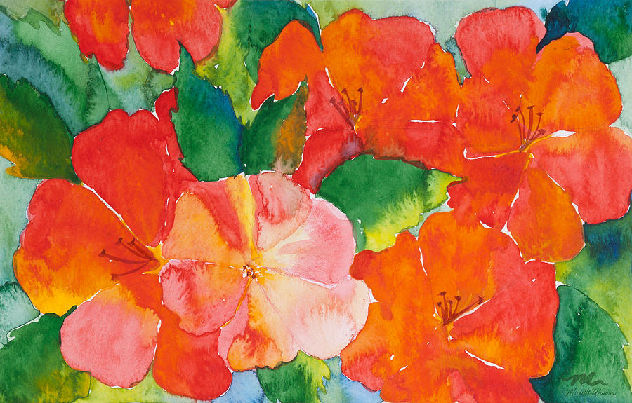 Flowers Painting - Hibiscus Flowers by Michelle Wiarda-Constantine