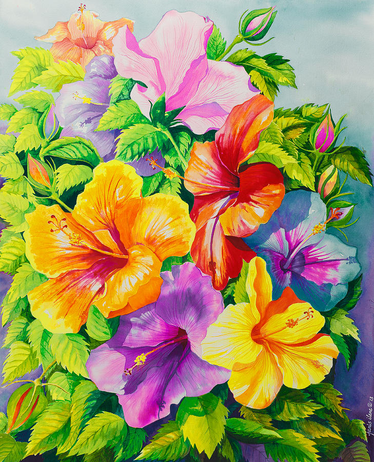 Hibiscus Painting - Hibiscus Rainbow Array by Janis Grau