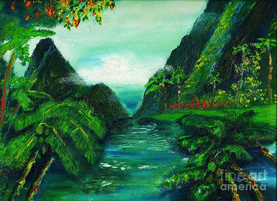 Hawaii Painting - Hidaway Paradise by Donna Chaasadah