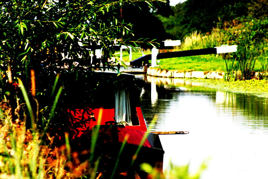 Canal Photograph - Hidden Barge by David Wood