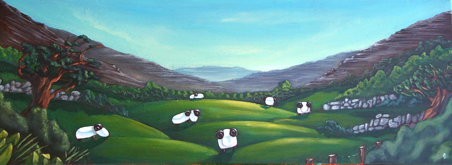 Sheep Painting - Hidden Flock by Olivier Longuet