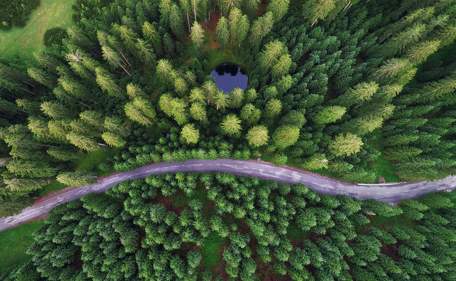 Aerial Photograph - Hidden Lake by Ales Krivec