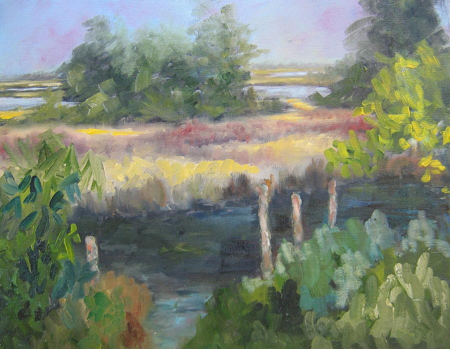 Marsh Painting - Hidden Mooring by Susan Richardson