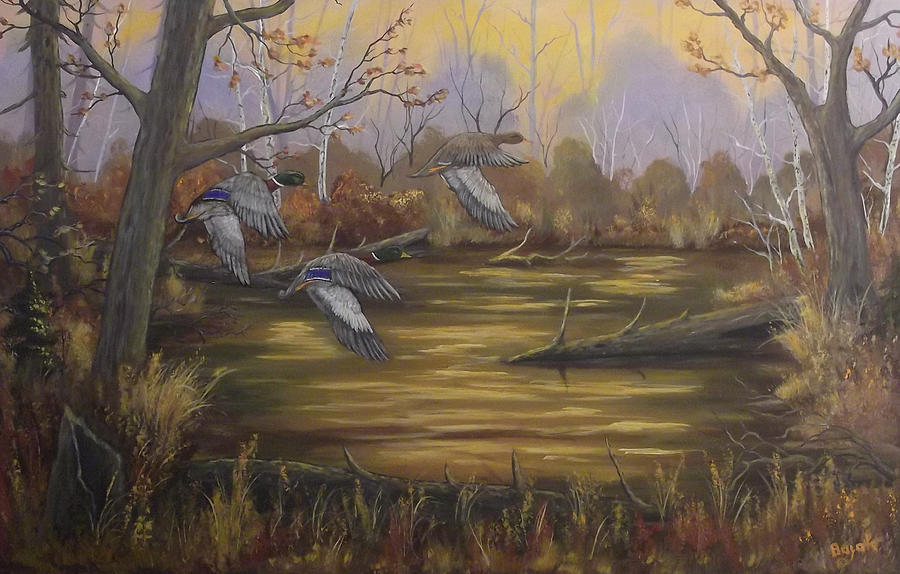 Mallards Painting - Hidden Pond by Rudolph Bajak