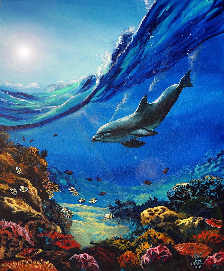 Dolphin Painting - Hidden Splendor by Marco Antonio Aguilar