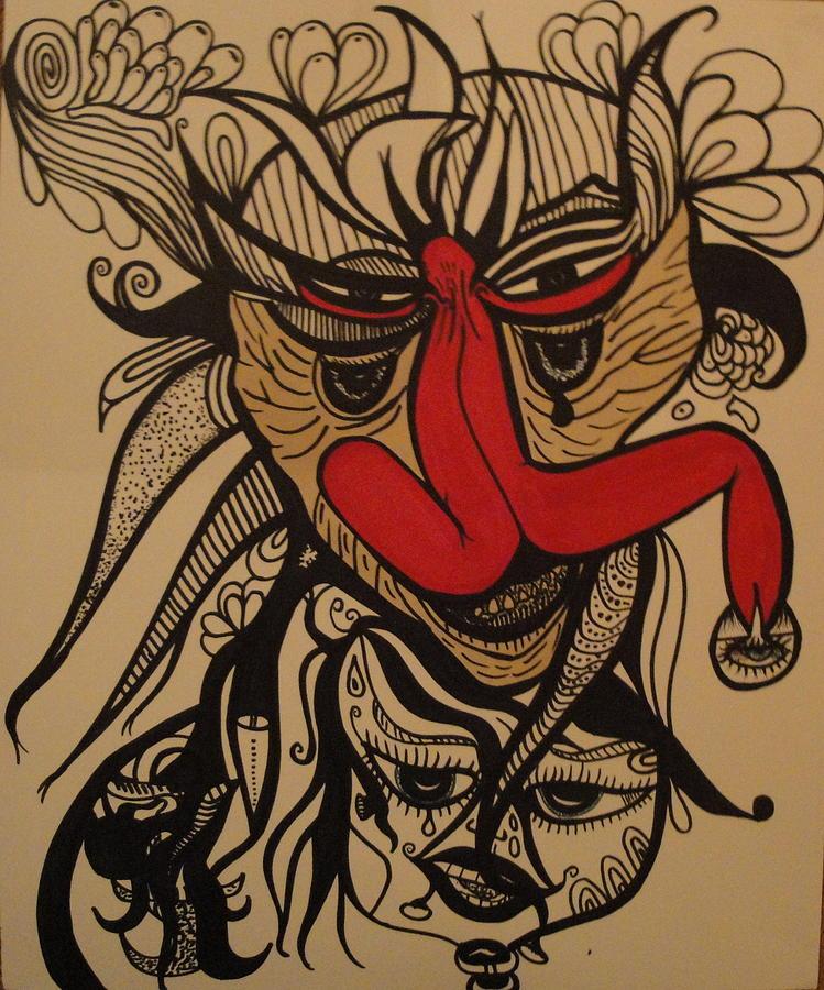 Gothic Drawing - Hidden Visions by Glenn Poppler