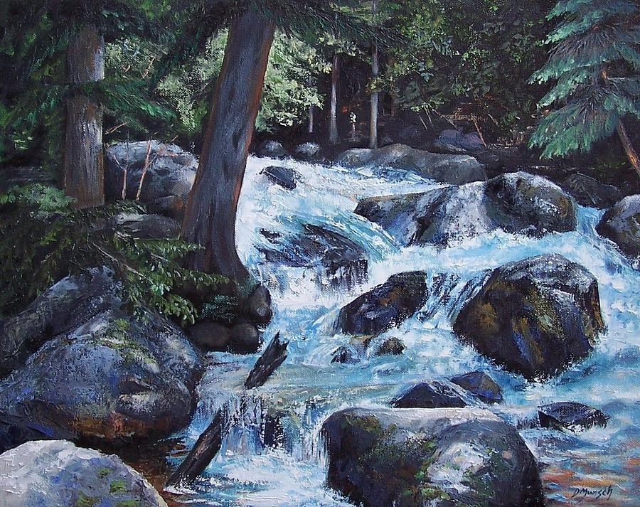 Oil Painting Painting - Hidden Waterfall by Donna Munsch