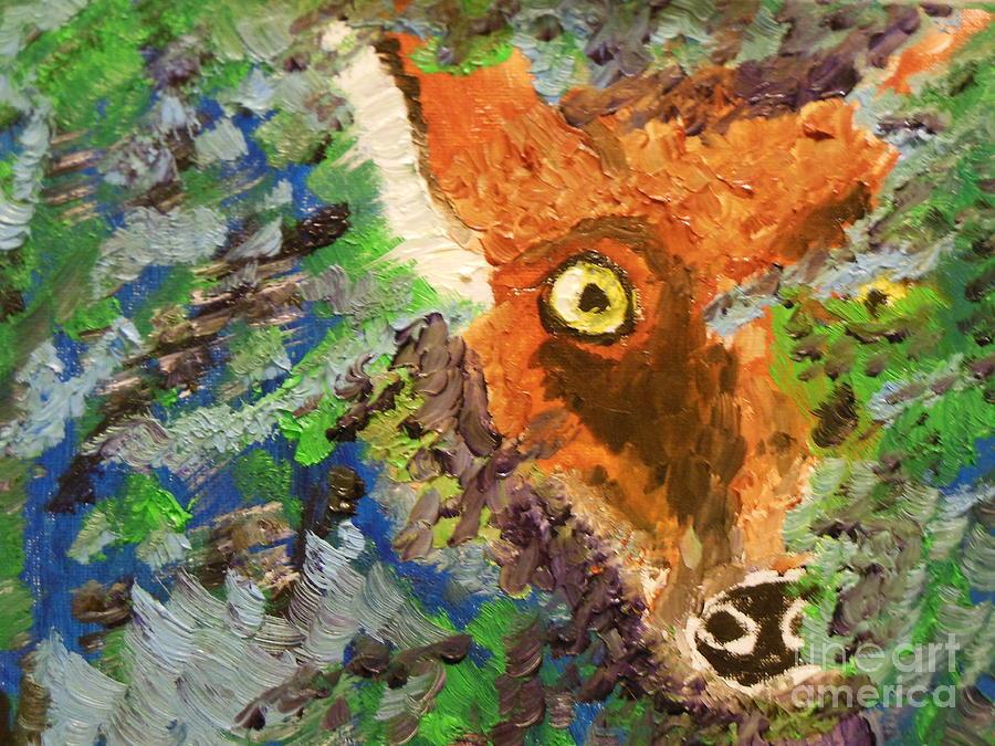 Fox Painting - Hide And Seek by Harold Greer