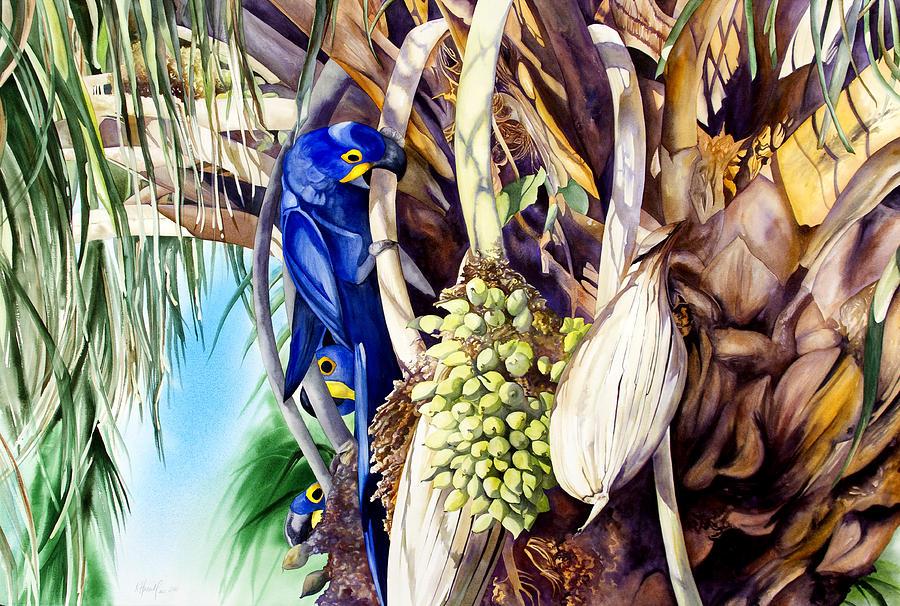 Bird Painting - Hide-n-Seek Hyacinths by Kitty Harvill