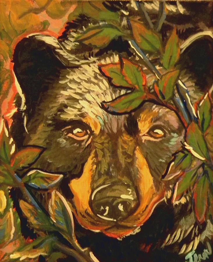 Black Bear Painting - Hiding Bear by Jenn Cunningham