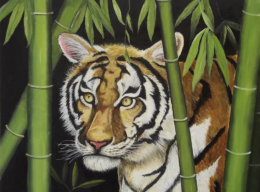 Tiger Painting - Hiding In The Bamboo by Wanda Dansereau