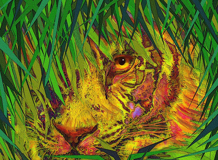 Tiger Digital Art - Hiding by Jane Schnetlage