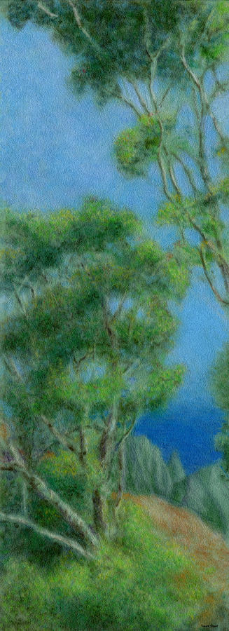 Rainbow Colors Pastel Painting - High Above Na Pali 2 by Kenneth Grzesik
