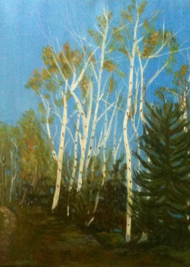 Aspen Trees Painting - High And Mighty by Betty Pimm
