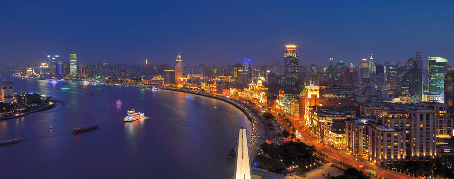 High Angle Night View Of The Bund In Photograph by Wei Fang