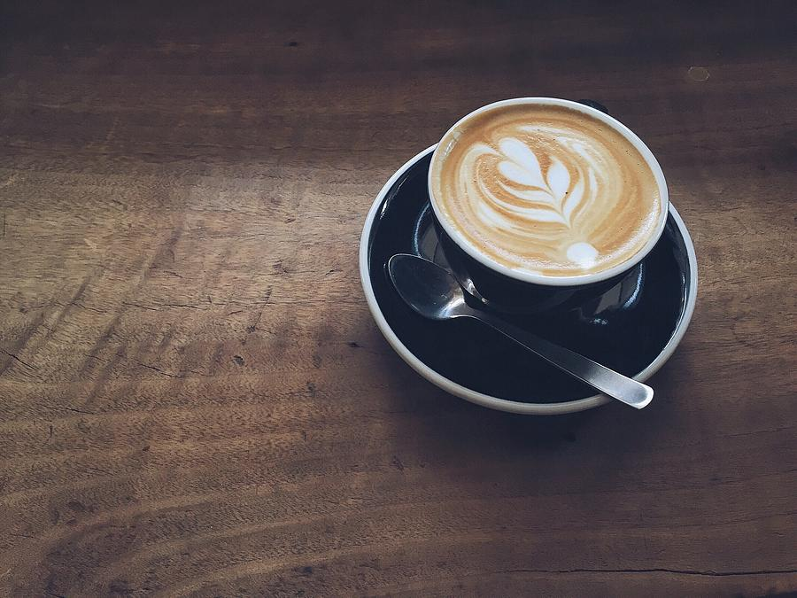 High Angle View Of Cappuccino On Wooden Photograph by Eujin Goh / Eyeem