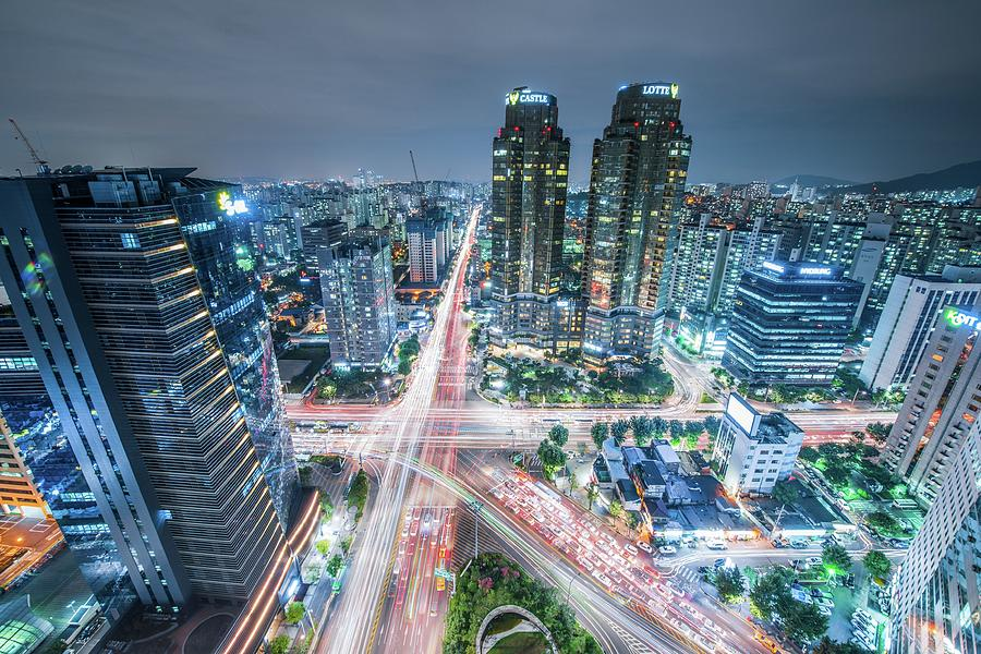 High Angle View Of Cityscape Lit Up At Photograph by Gangil Gwon / Eyeem