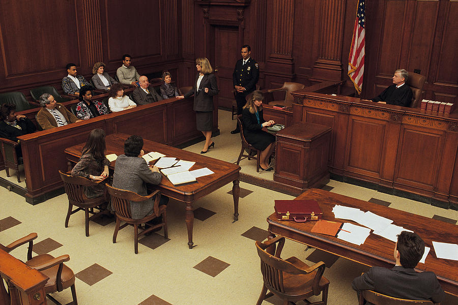 High angle view of courtroom Photograph by Comstock