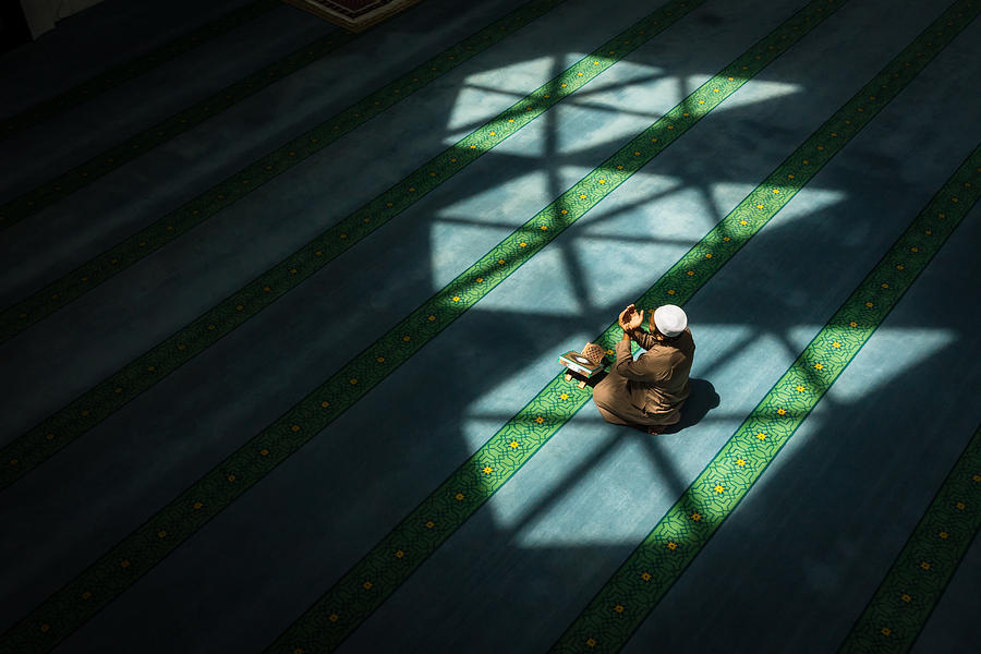 High Angle View Of Man Praying In Mosque Photograph by Md Aziman Abd Aziz / EyeEm