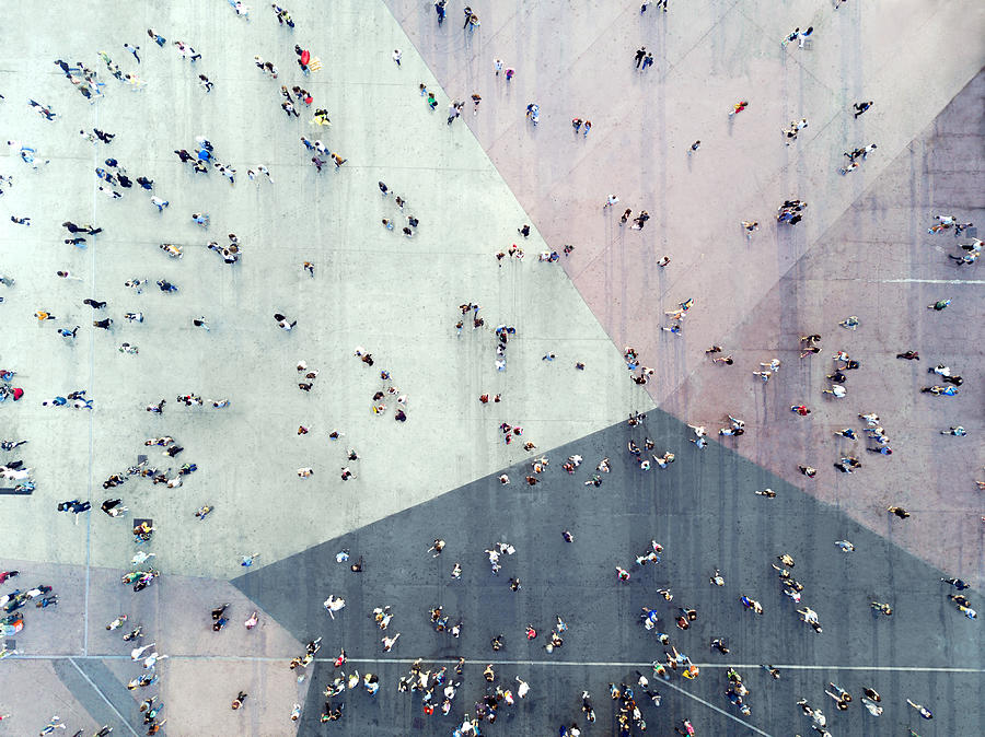High Angle View Of People On Street Photograph by Orbon Alija