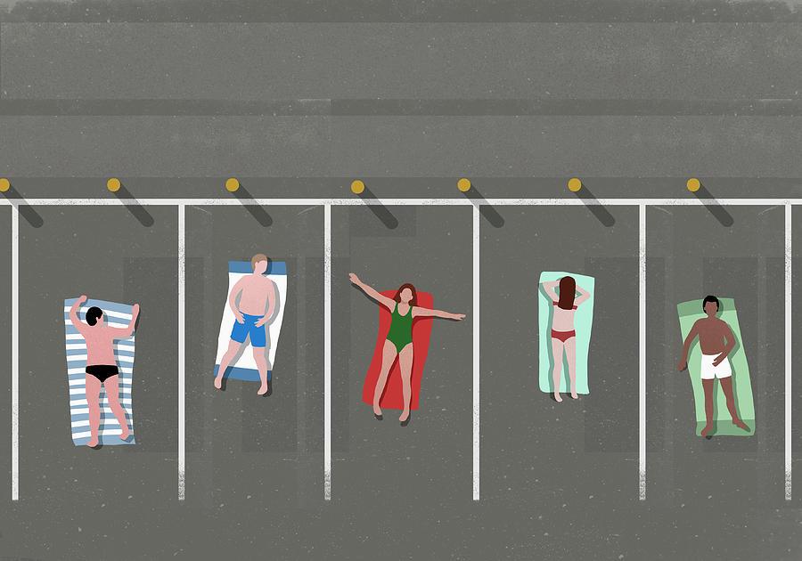 High Angle View Of People Sunbathing In Digital Art by Malte Mueller