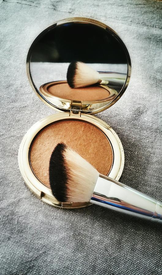 High Angle View Of Powder Compact With Photograph by K.m. Zieba / Eyeem