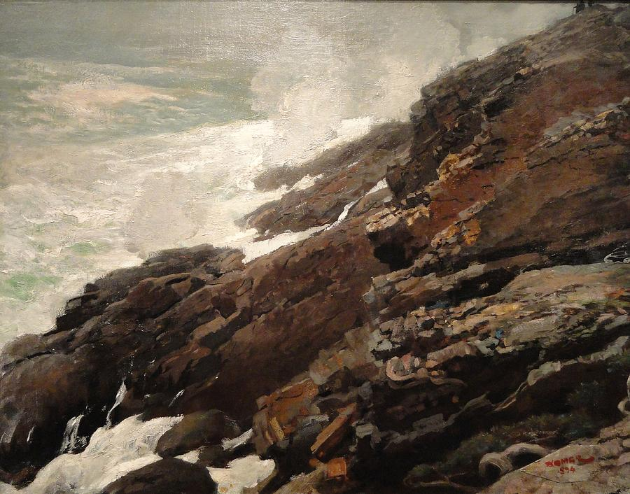 Winslow Painting - High Cliff Coast Of Maine 1894 by Philip Ralley
