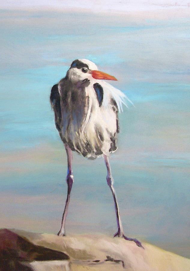 Heron Painting - High Falls Heron by Debbie Anderson