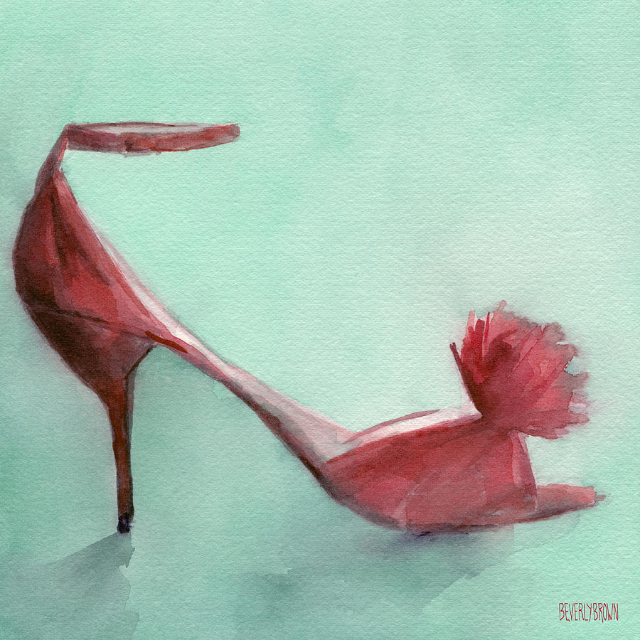 High Heel Red Shoes Painting Painting by Beverly Brown