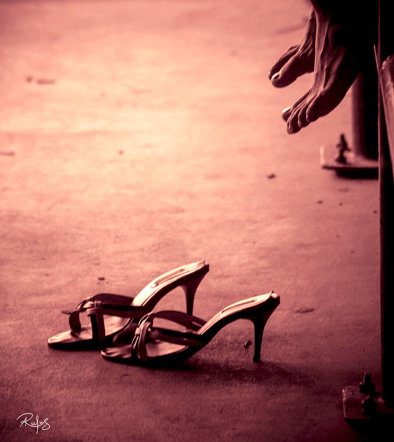 High Heel Shoes Photograph - High Heel Shoes Waiting on the pavement by Allan Rufus