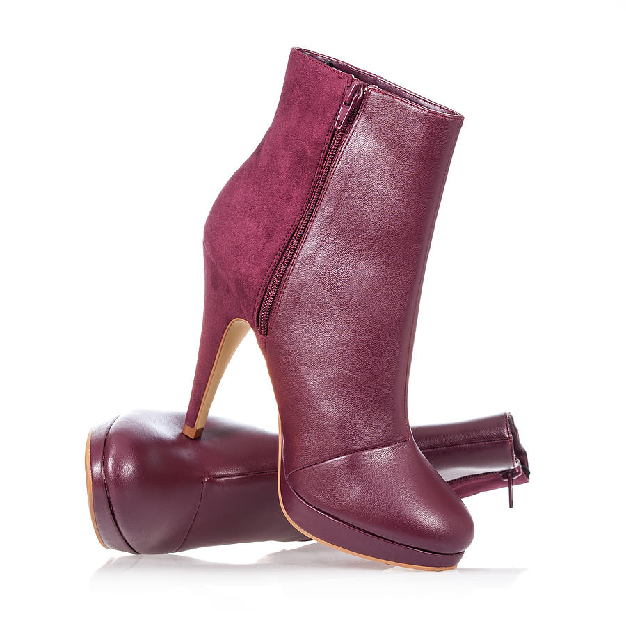 High heels ankle boot in dark red Photograph by Guenterguni