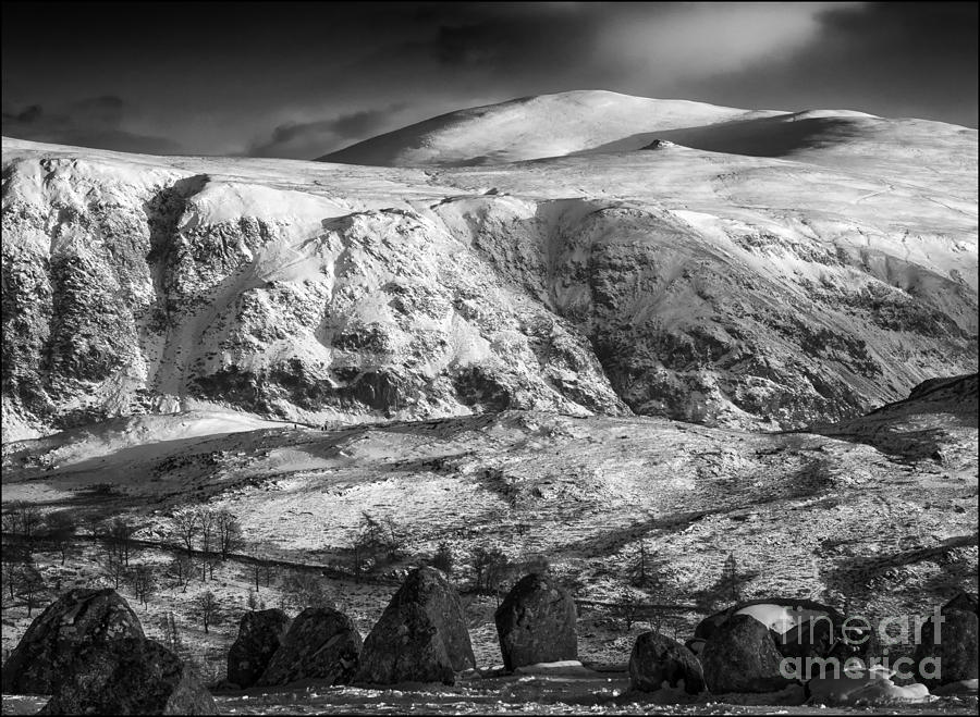 Landscape Photograph - High Rigg From Castlerigg Stone Circle Mono by George Hodlin