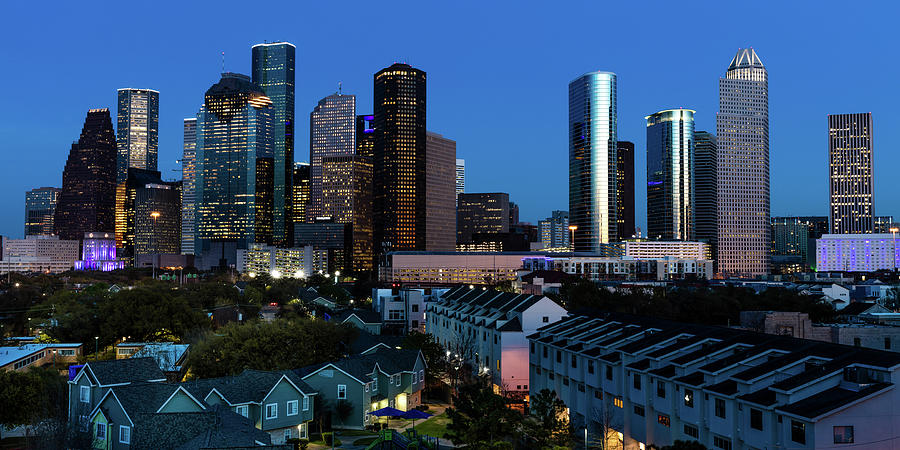 Horizontal Photograph - High Rise Buildings In Houston by Panoramic Images