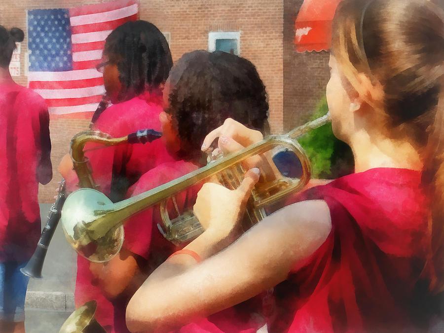 Band Photograph - High School Band At Parade by Susan Savad
