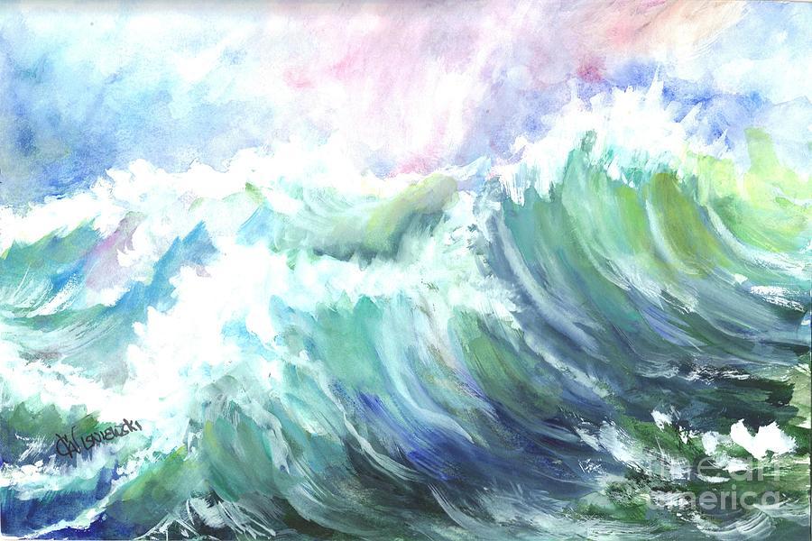 Gouache Painting - High Seas by Carol Wisniewski