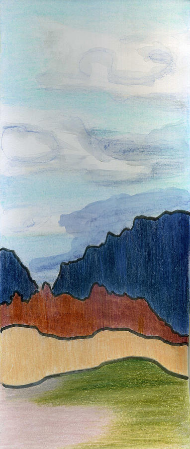 Landscape Drawing - High Skies by Lelia Sorokina